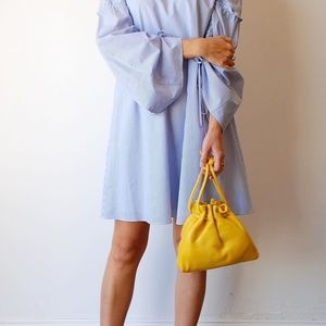TIBI Satin Poplin trapeze Dress ELLIOT STRIPE Blue